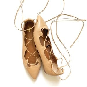 Gap Women's Nude Lace Up Pointy Flats 10